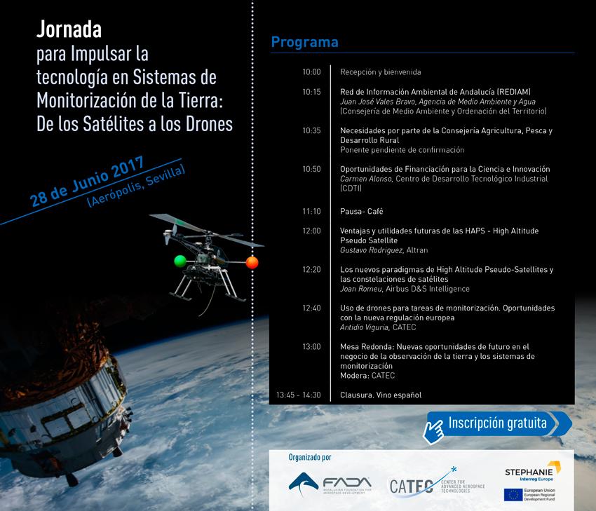 JORNADA PARA IMPULSAR LA TECNOLOGÍA EN SISTEMAS DE MONITORIZACIÓN DE LA TIERRA: DE LOS SATÉLITES A LOS DRONES - 23 Junio en Aerópolis