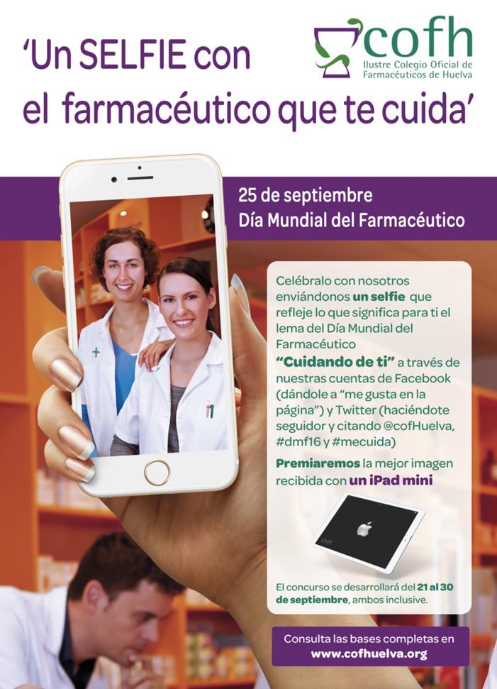La farmacia onubense invita a la población de Huelva a mostrar en redes sociales cómo le cuidan sus farmacéuticos con motivo del día mundial de la profesión