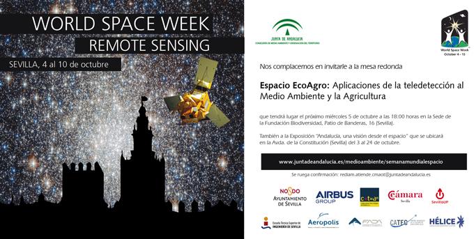 Invitación Mesa Redonda - Espacio EcoAgro: Aplicaciones de la teledetección al Medio Ambiente y la Agricultura (5 octubre, 18.00 horas)