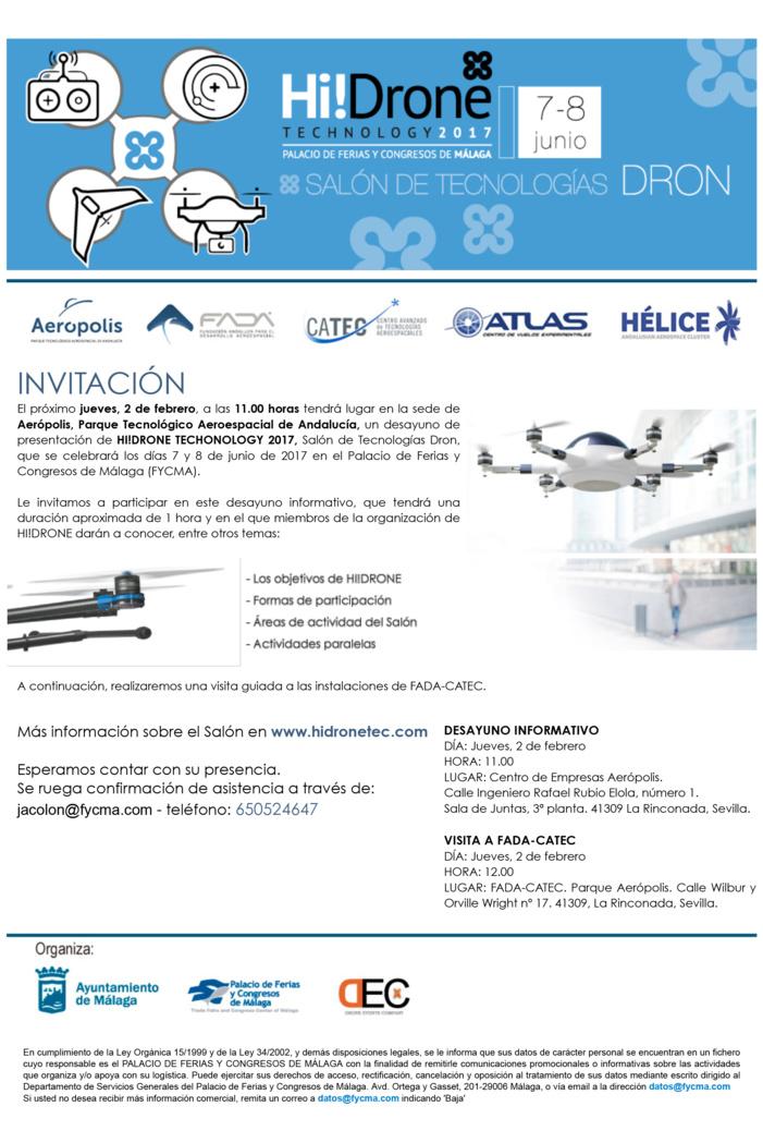 Presentación de Hi! Drone Technology 2017, en Parque Aerópolis el 2 de febrero