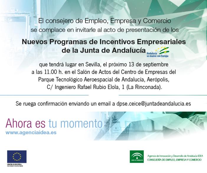 Presentación de los Nuevos Programas de Incentivos Empresariales de la Junta de Andalucía - 13 septiembre en Aerópolis