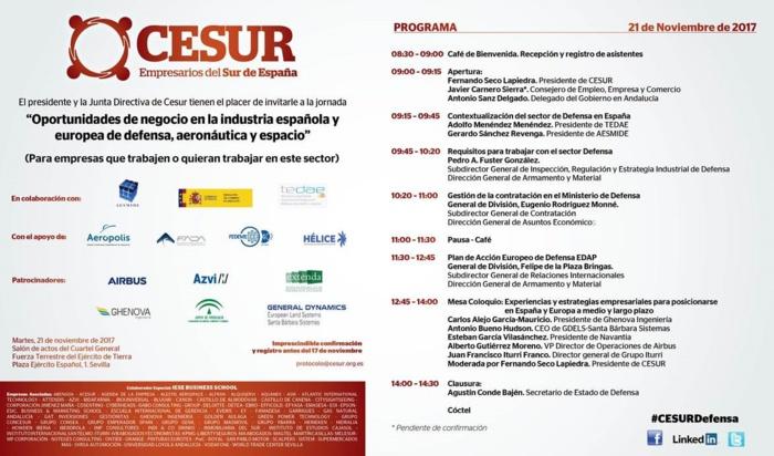 """Jornada """"Oportunidades de Negocio en la Industria Española y Europea de Defensa, Aeronáutica y Espacio"""". Sevilla, 21 de noviembre."""