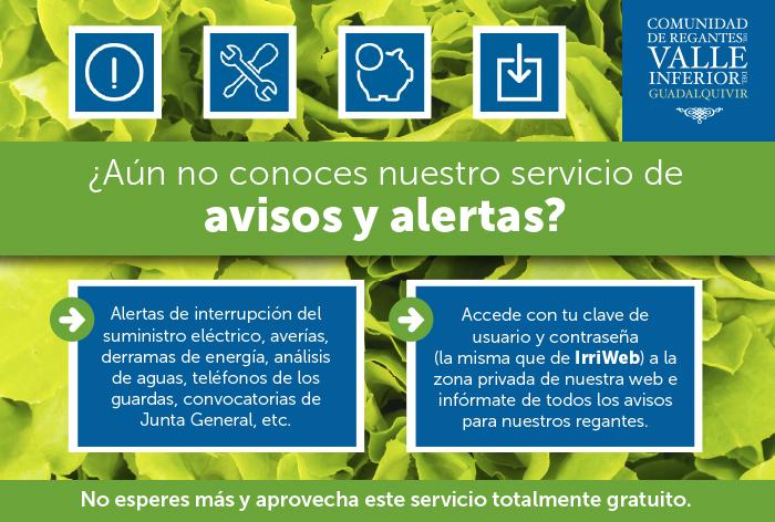 CRR Valle Inferior del Guadalquivir - ¿Aún no conoces nuestro servicio de avisos y alertas?