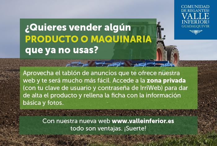 CRR Valle Inferior del Guadalquivir - ¿Quieres vender algún producto o maquinaria que ya no usas?