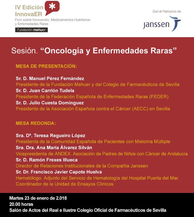El Foro InnovaER aborda mañana en Sevilla la relación entre oncología y enfermedades raras