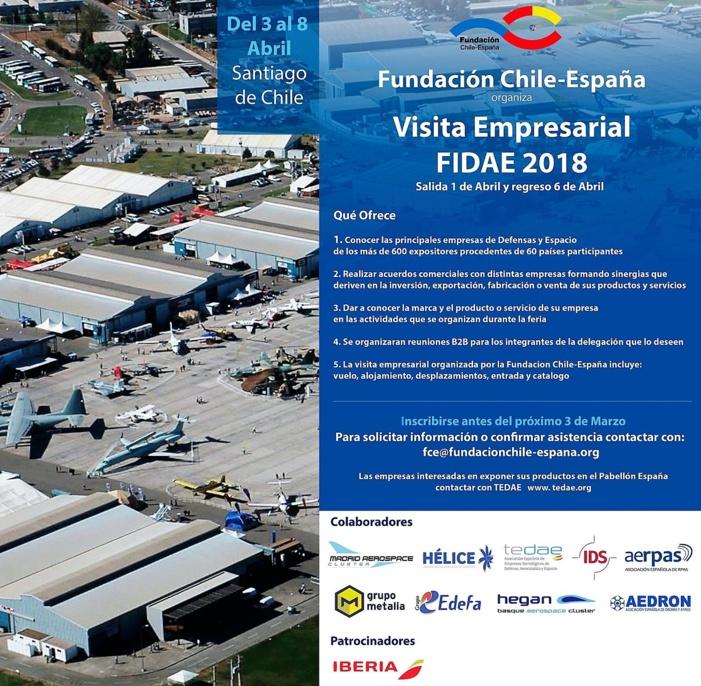 La Fundación Chile-España organiza una visita empresarial a Fidae 2018
