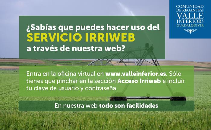 CRR Valle Inferior del Guadalquivir - ¿Sabías que puedes hacer uso del Servicio IRRIWEB a través de nuestra web?