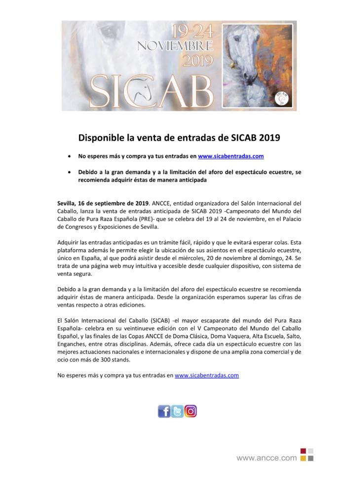 Disponible la venta de entradas de SICAB 2019