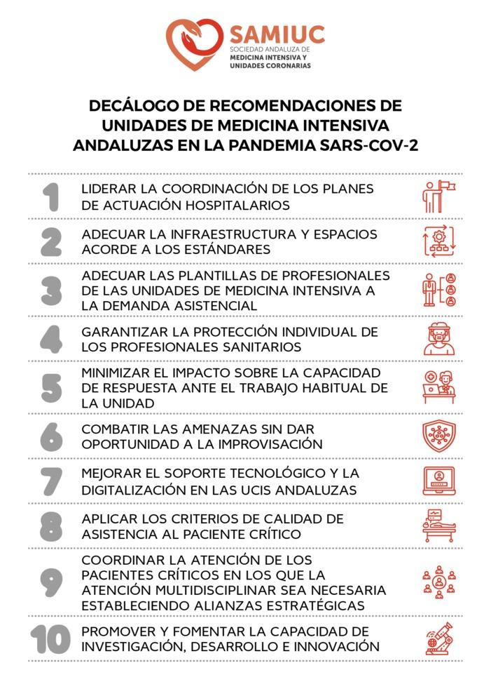 NOTA DE PRENSA: SAMIUC propone un decálogo de recomendaciones para las UCI de Andalucía tras la pandemia por Covid-19, en el que reivindica el papel de los intensivistas