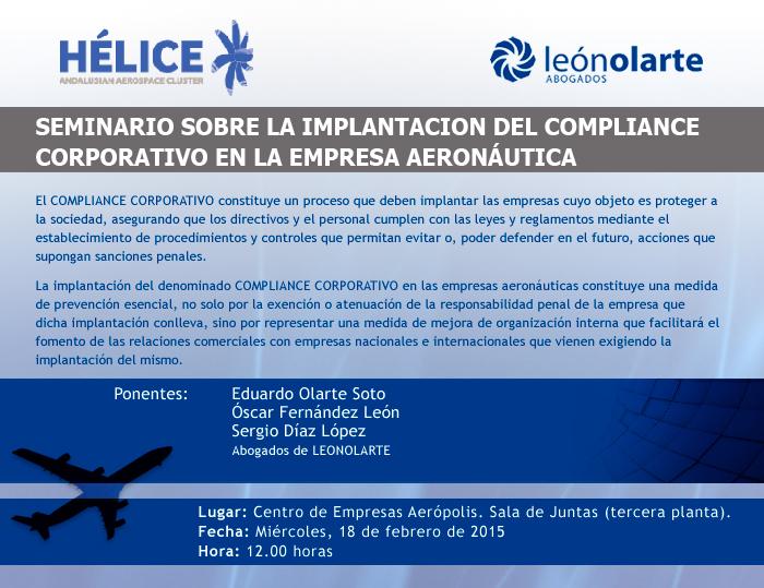 Seminario sobre la implantación del COMPLIANCE CORPORATIVO en la empresa aeronáutica