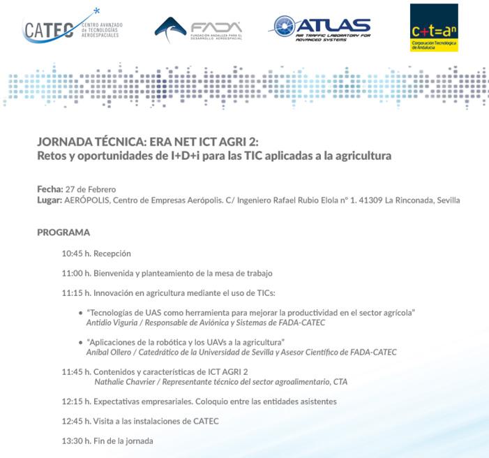 """JORNADA TÉCNICA: """"ERA NET ICT AGRI 2, Retos y oportunidades de I+D+i para las TIC aplicadas a la agricultura"""""""