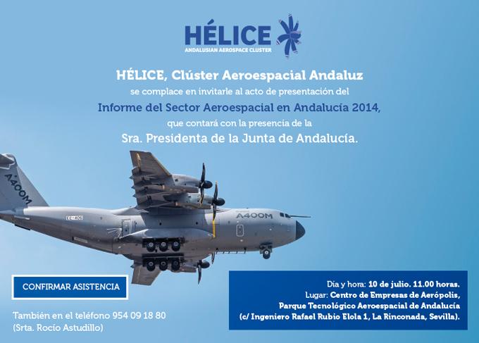 INVITACIÓN PRESENTACIÓN DEL INFORME DEL SECTOR AEROESPACIAL EN ANDALUCÍA 2014