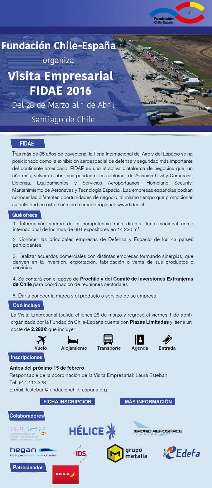 Fundación Chile-España organiza una Visita Empresarial FIDAE 2016 en Santiago de Chile del 28 de marzo al 1 de abril