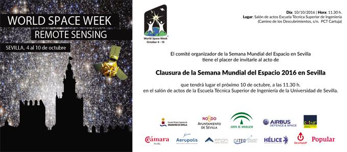 (MODIFICACIÓN HORA 12.30 horas) CLAUSURA DE LA SEMANA MUNDIAL DEL ESPACIO 2016 EN SEVILLA