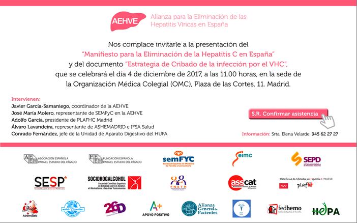 PRESENTACIÓN MANIFIESTO POR LA ELIMINACIÓN DE LA HEPATITIS C Y PRESENTACIÓN DEL PLAN DE CRIBADO, 4 DE DICIEMBRE, 11.00 HORAS MADRID