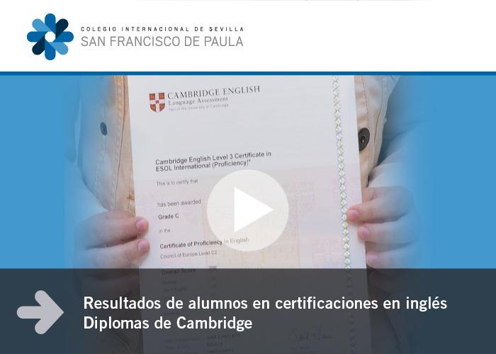 Resultados de alumnos en certificaciones en inglés - Diplomas de Cambridge
