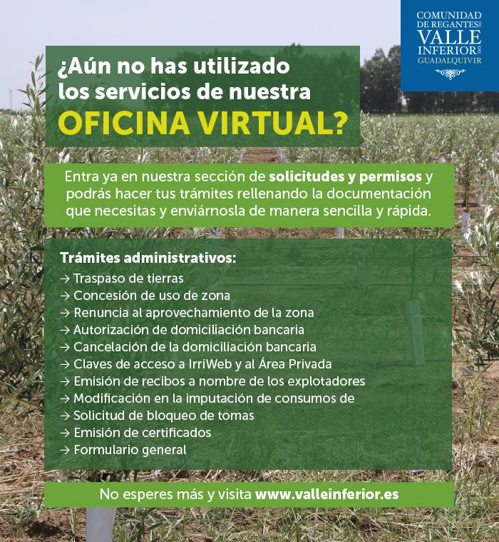 CRR Valle Inferior del Guadalquivir - ¿Aún no has utilizado el servicio de tramitación de Permisos y Solicitudes de nuestra OFICINA VIRTUAL?