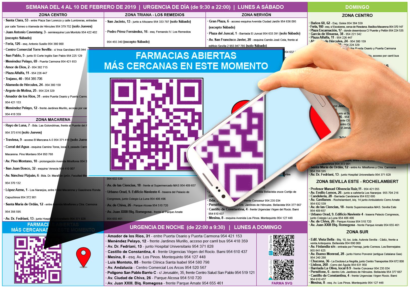 Las farmacias de Sevilla incorporan un código QR en sus carteles de guardia para localizar al instante aquellas del entorno que permanezcan abiertas