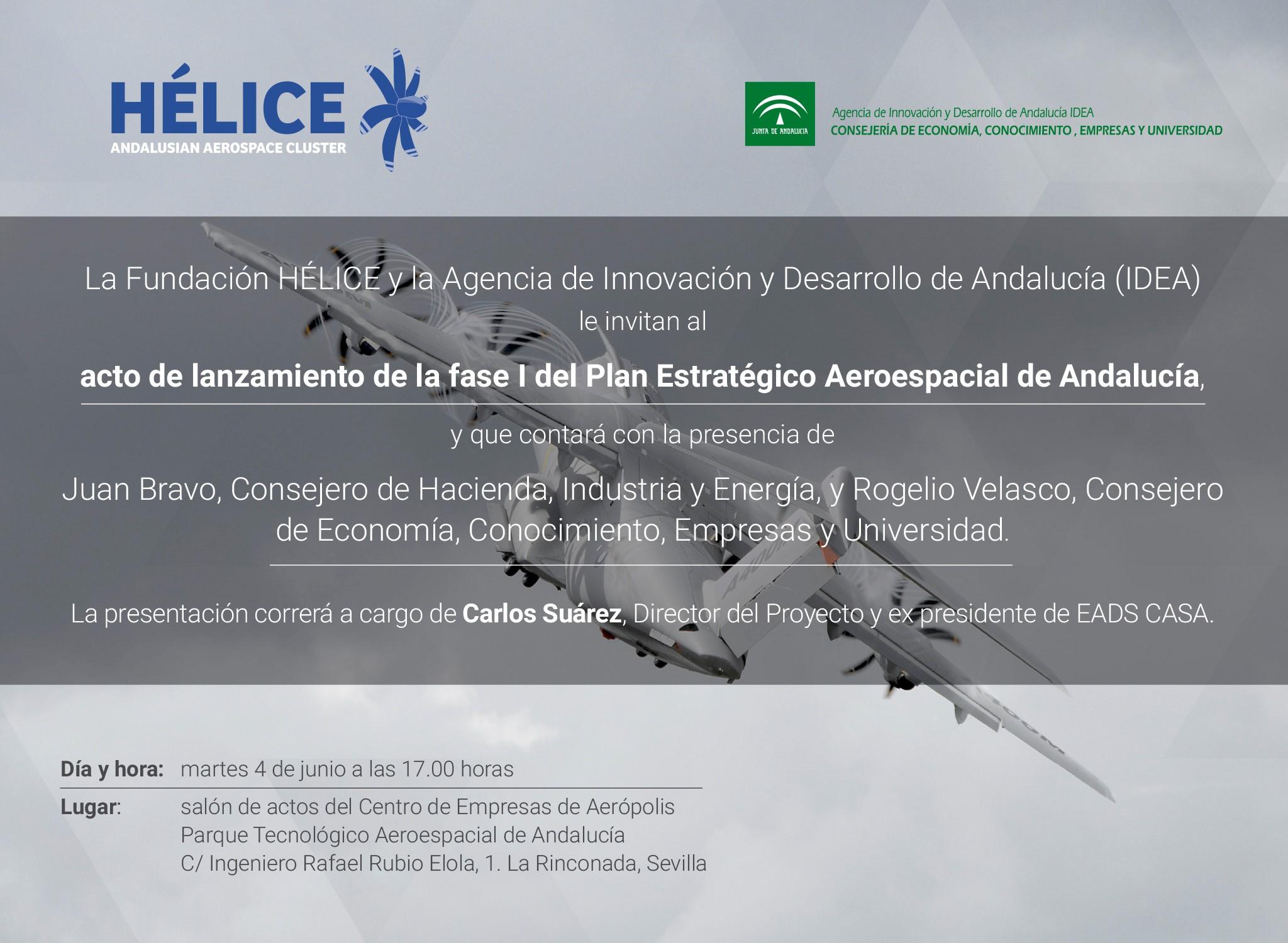 INVITACIÓN ACTO DE LANZAMIENTO DE LA FASE I DEL PLAN ESTRATÉGICO AEROESPACIAL DE ANDALUCÍA