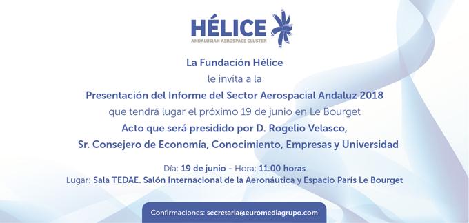 INVITACIÓN PRESENTACIÓN DEL INFORME DEL SECTOR AEROESPACIAL ANDALUZ 2018 - 19 Junio
