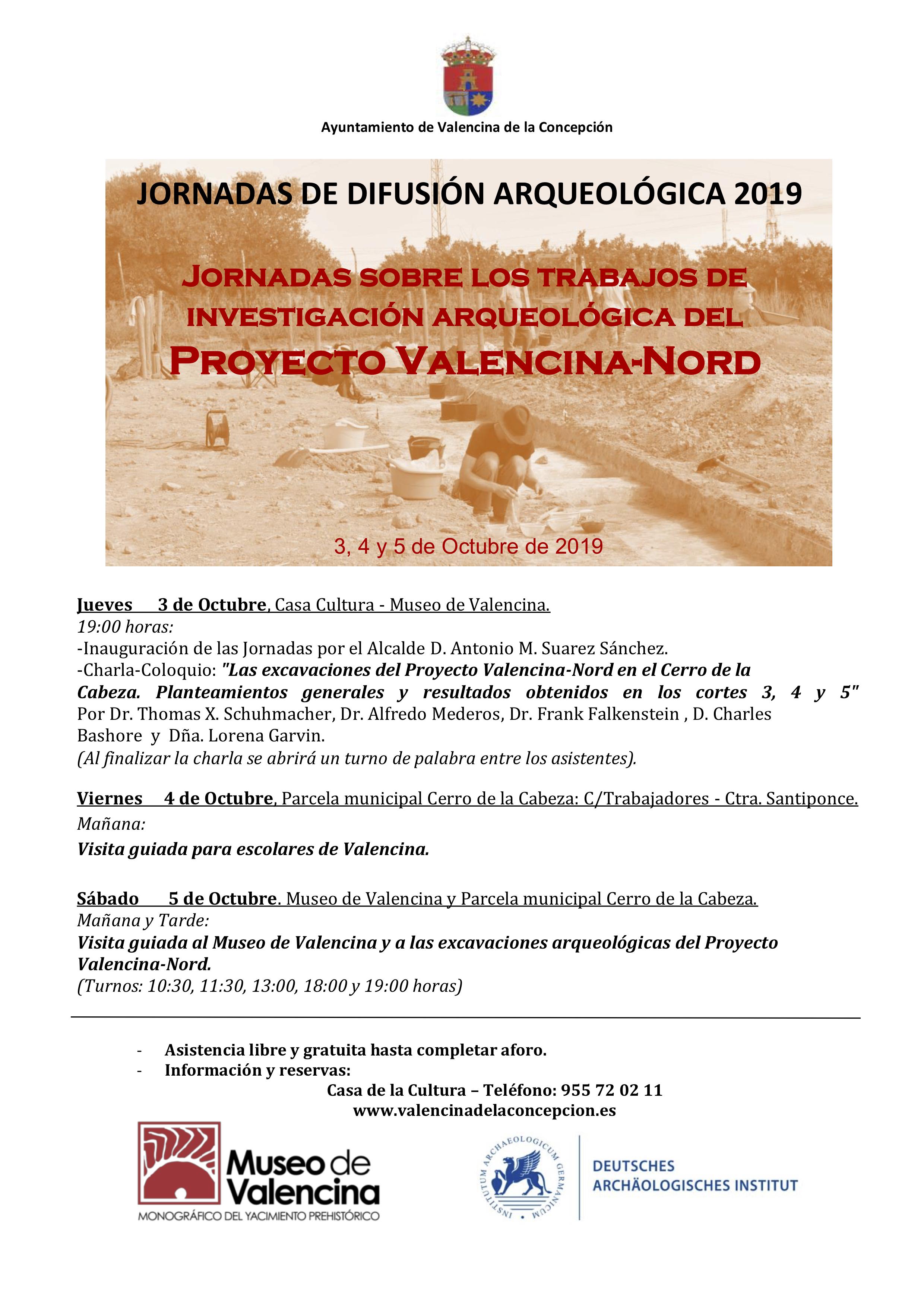 """Ayto Valencina - EL AYUNTAMIENTO DE VALENCINA CELEBRA DEL 3 AL 5 DE OCTUBRE LAS """"JORNADAS DE DIFUSIÓN ARQUEOLÓGICA 2019"""" SOBRE EL PROYECTO VALENCINA-NORD"""