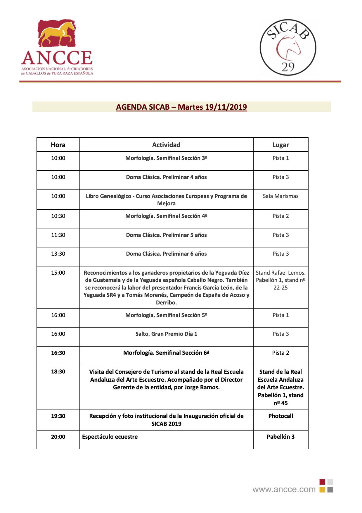 SICAB 2019 ARRANCA MAÑANA EN EL PALACIO DE CONGRESOS DE SEVILLA CON LOS MEJORES CABALLOS PURA RAZA ESPAÑOLA DE TODO EL MUNDO + AGENDA MARTES 19 DE NOVIEMBRE