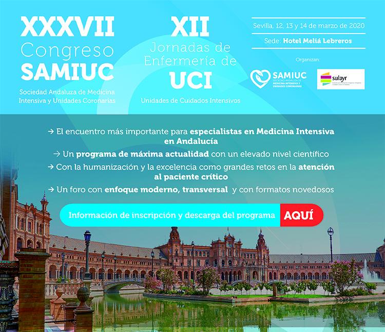 Inscríbete | XXXVII Congreso de la Sociedad Andaluza de Medicina Intensiva y Unidades de Coronarias | Del 12 al 14 de marzo