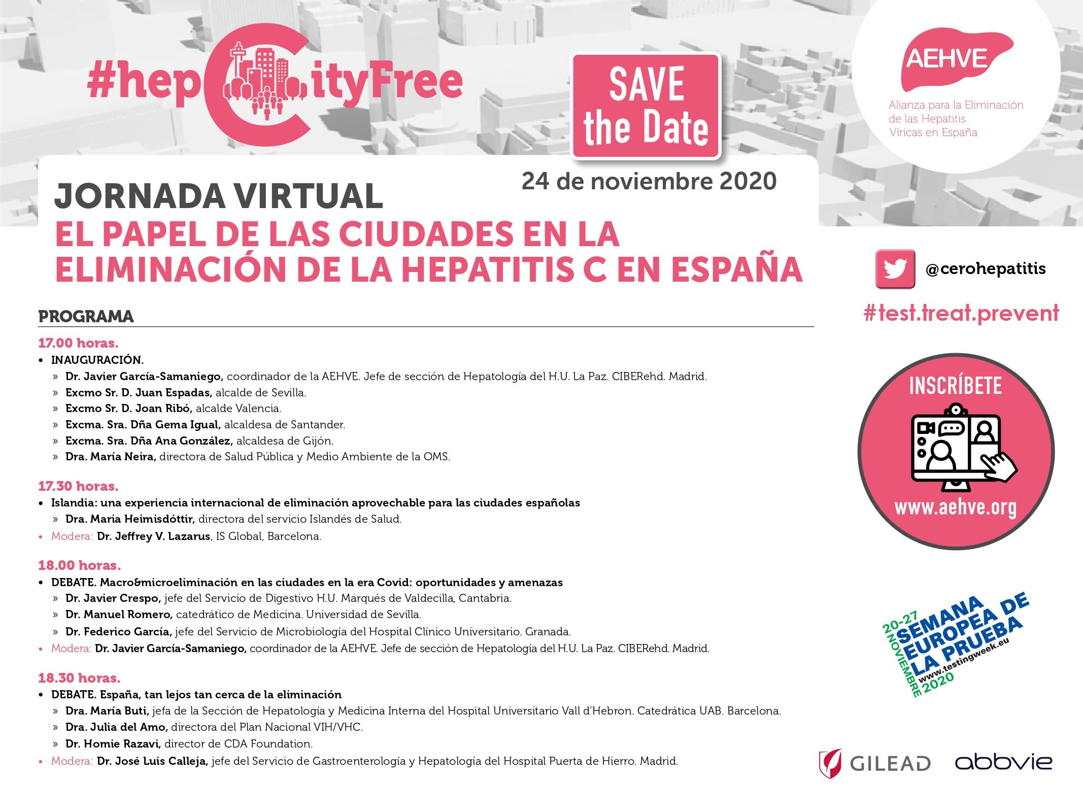 Jornada virtual 'El papel de las ciudades en la eliminación de la hepatitis C en España'