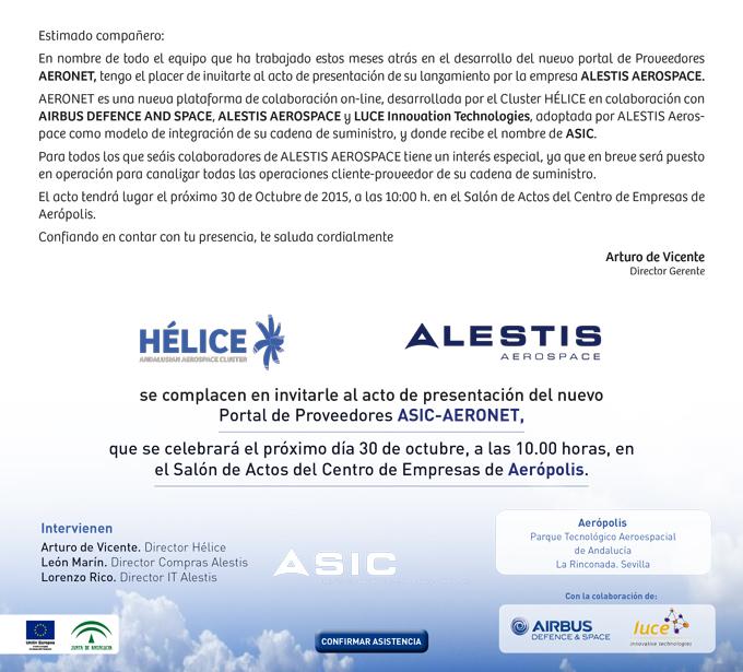 Invitación presentación nuevo portal ASIC-AERONET, nuevo portal de proveedores de ALESTIS